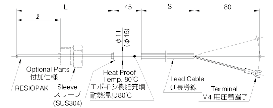 R35: Sheath Resistance Thermometer Sensor with Extension Lead Wire image